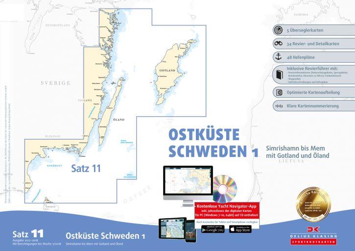Delius-Klasing Sportbootkarten Satz 11: Ostküste Schweden 1