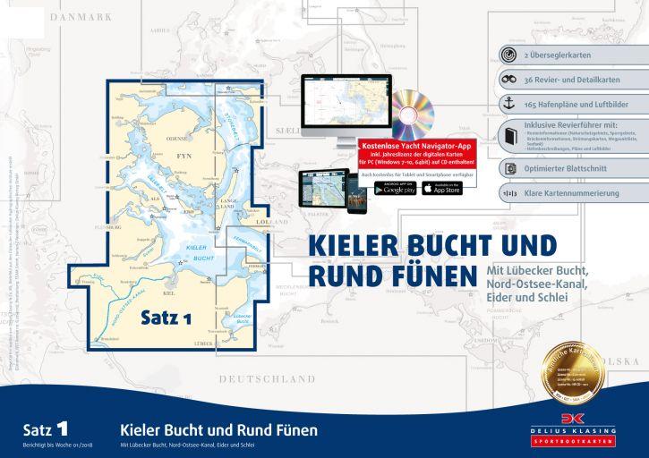 Delius-Klasing Sportbootkarten Satz 1: Kieler Bucht und Rund Fünen