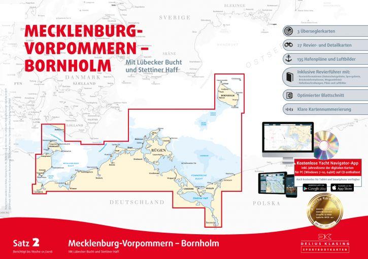 Delius-Klasing Sportbootkarten Satz 2: Mecklenburg-Vorpommern - Bornholm