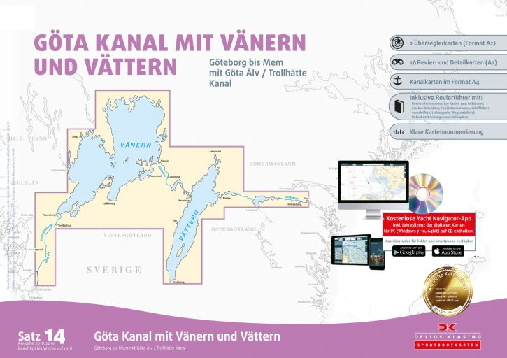 Delius-Klasing Sportbootkarten Satz 14: Götakanal mit Vänern und Vättern